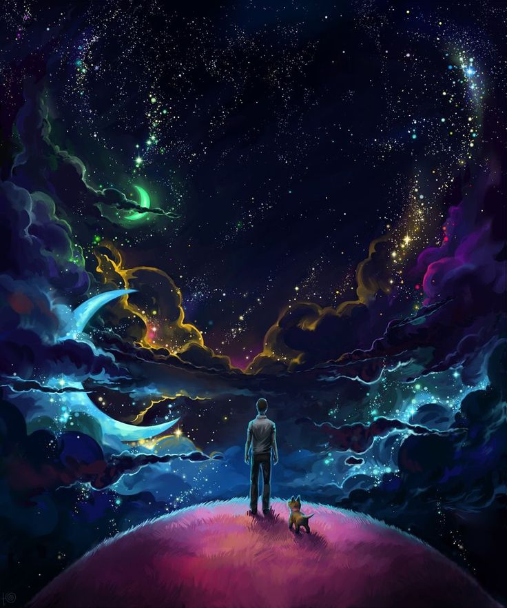 A man and his furry buddy contemplating the cosmos.