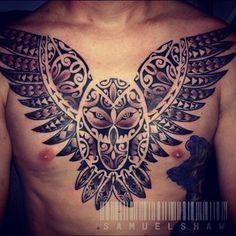 Polynesian Tribal Owl Tattoo :