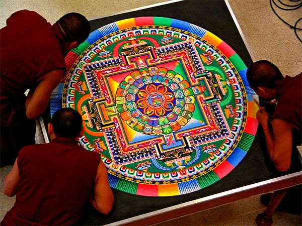 Tibetan Sand Mandala – All life is impermanent    The mandala is a circular representation of the cosmos. Carl Jung called it a symbol representing the effort to reunify the self. Most famous are the Tibetan sand mandalas, painstakingly created out of coloured sand, sometimes by hundreds of monks, to be immediately swept away after completion.