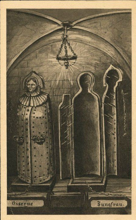 "Eiserne Jungfrau (torture device), an 18th century vintage photoThe maiden worked by enclosing the poor victim inside and then closing the spiked doors, killing or just torturing them with pointed blades or spikes attached to the door.This illustration shows two iron maidens, one open and one closed. Below are the German words Eiserne Jungfrau - ""Iron Maiden"
