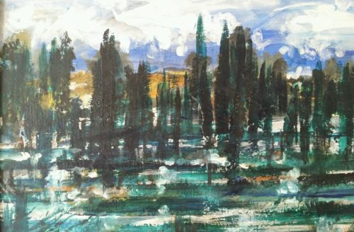 Vintage-Abstract-Expressionist-Landscape-on-Canvas-Panel-Board-signed-Bernath