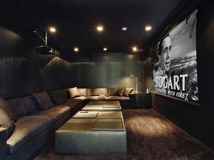 Dark, cosy atmosphere to this amazing home cinema