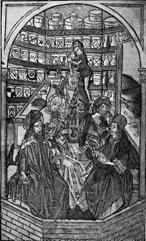 Medieval Pharmacy - Pharmacy assistant grinds herbs while the doctor lectures his students. This woodcut is taken from the Hortus Sanitatis minor, a guide to herbal medicine dating back to 1488