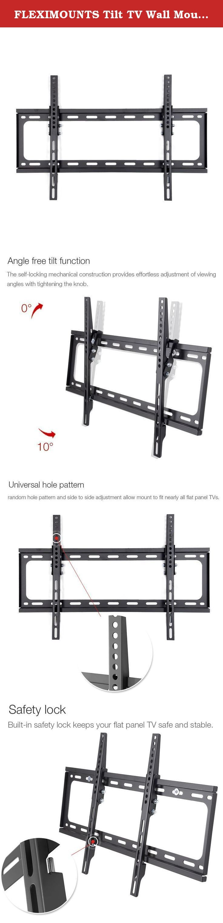 "FLEXIMOUNTS Tilt TV Wall Mount Bracket for most 32""-65"" LCD LED Plasma flat screen fits for most of Samsung Coby LG VIZIO Sharp Sony Toshiba Seiki Tvs. FLEXIMOUNTS LCD LED Plasma Flat Tilt TV Wall Mount Bracket Low Profile Fit for 32 37 40 42 47 50 55 60 65 TV Size w/ Bubble Level FLEXIMOUNTS Tilt TV wall mount is fit for 32''-65'' LED TVs up to 99lbs weight. It has great performance with high-quality cold-rolled steel plate but lower prices. Certified by UL GS, the security is…"