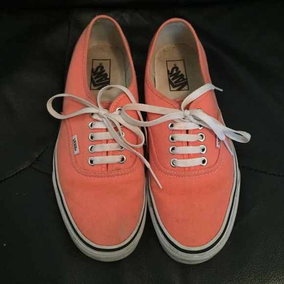 Coral vans Coral vans will a couple of stains but still super cute! Vans Shoes Sneakers
