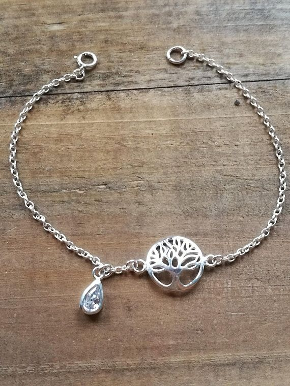 782daf1386b Clear Cubic Zirconia Tree of life bracelet, April birthstone, Sterling  Silver rolo chain, Inspirational gift, April birthstone gift