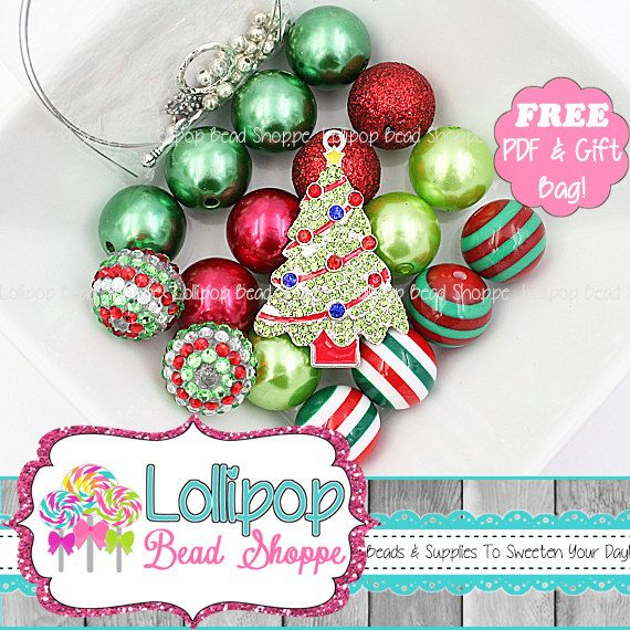Christmas Tree DIY Chunky Necklace Kit Red, Lime & Green Christmas Starter Kit Make It Yourself Chunky Bead Kit Bubblegum Beads NBK28 by LollipopBeadShoppe