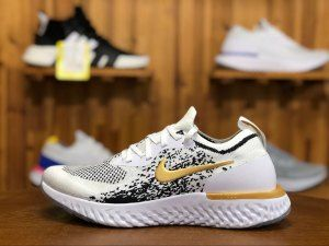 5b98a78e696a Nike Epic React Flyknit White Black Gold AQ0067 071 Mens Running Shoes