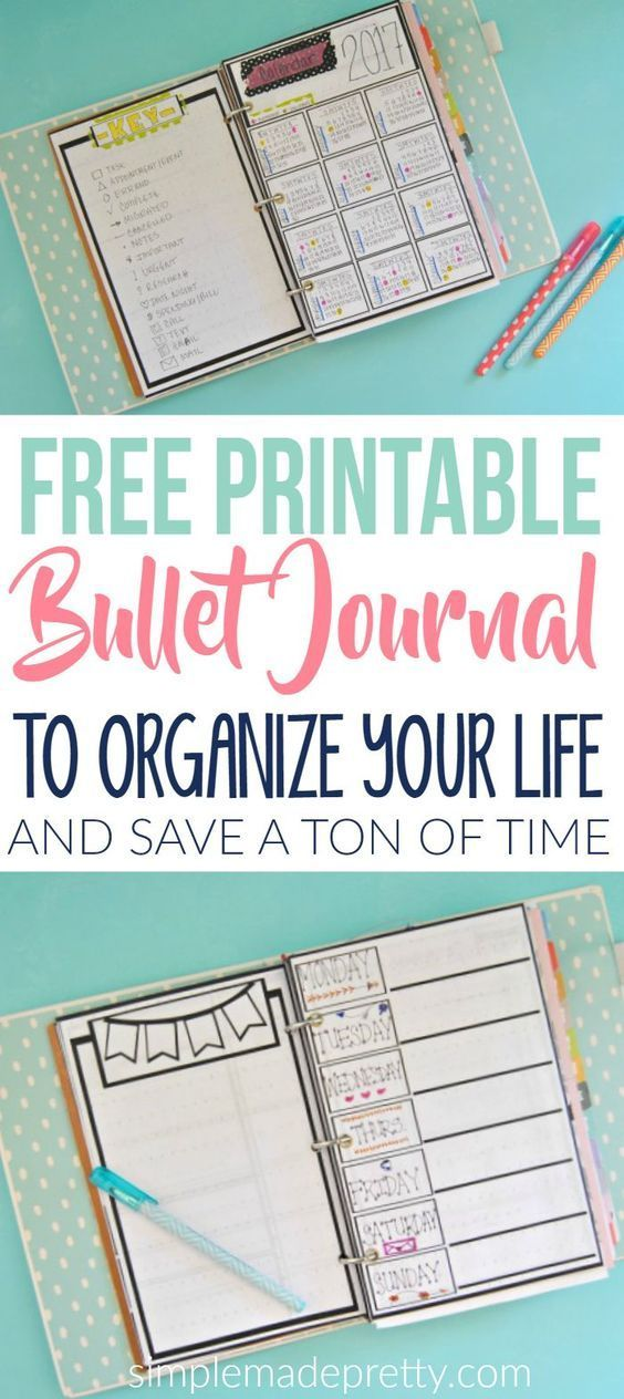 These free printable bullet journal pages will help you get organized and reduce time. You will find more time in your day since the bullet journal template is already made for you. Try these free printables to organize your personal life. #organizeyourlife