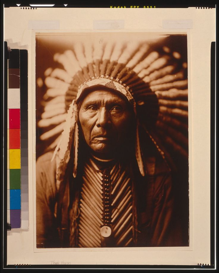 Three Horses, head-and-shoulders portrait, facing front, wearing headdress. Part of Edward S. Curtis Collection (Library of Congress) Indians of North America - Clothing & dress - 1900-1910