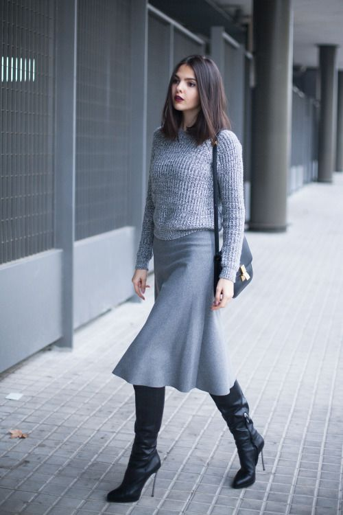 "fashion-boots: "" Doina Ciobanu of thegoldendiamonds.com in Casadei boots Abercrombie & Fitch sweater Zara midi skirt Celine bag Source """
