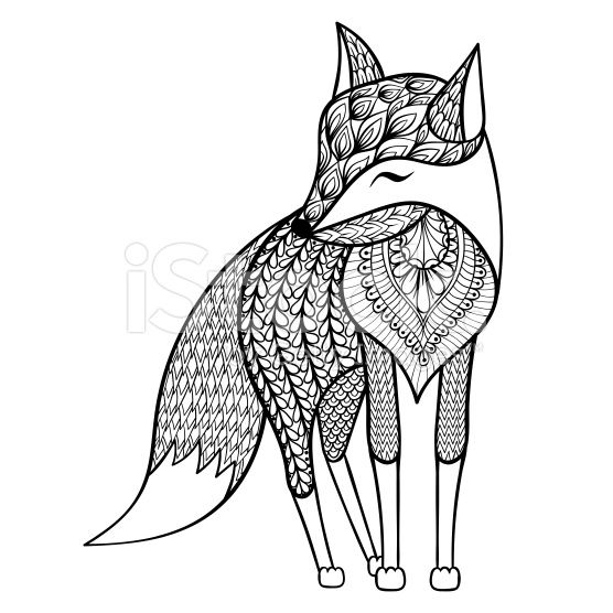 zentangle happy fox for adult anti stress coloring pages