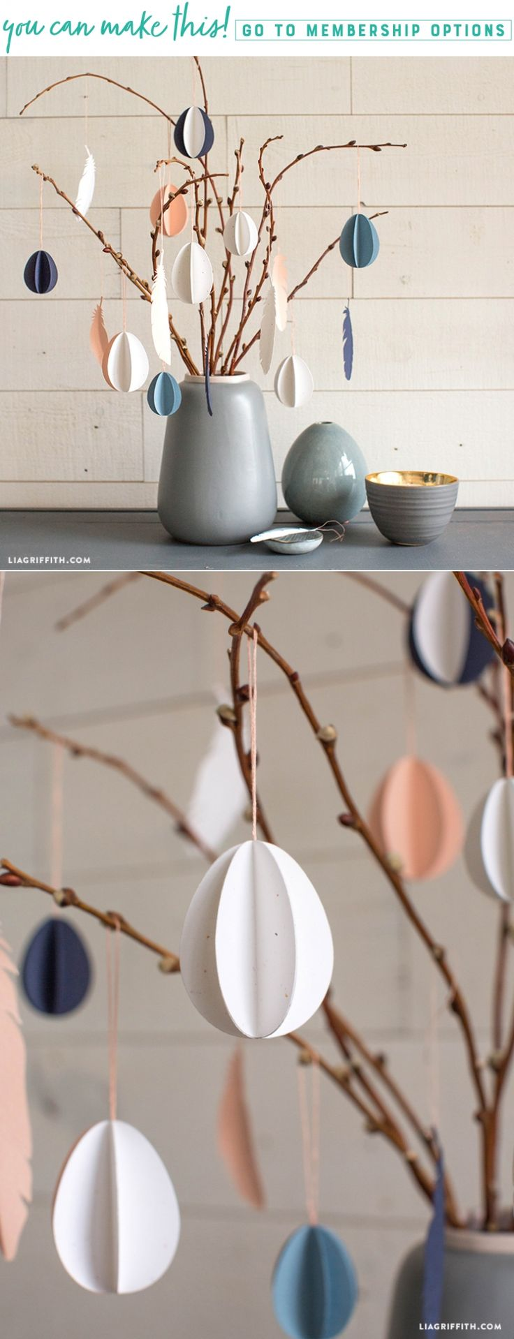 O Easter Tree  Dress up your Easter tree with these easy 3D paper eggs. This project is inspired by the Scandinavian tradition of påskris. We love the idea of dressing up twigs with colorful eggs for Easter! Glad Påsk (Happy Easter)! https://liagriffith.com/3d-paper-egg-easter-tree-ornaments/ * * * #easter #easteregg #eastereggs #paskris #pask #happyeaster #eastercrafts #paper #papercut #paperlove #easter2018 #eastertree #swede #sweden #swedish #diy #diycraft #diycrafts #diyidea #diyideas…