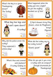 Thanksgiving lunch box notes / jokes! (free printable) http://www.activityvillage.co.uk/thanksgiving-lunch-box-jokes