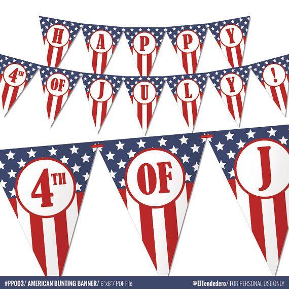 Banderines para fiesta americana  Guirnalda para el por eltendedero