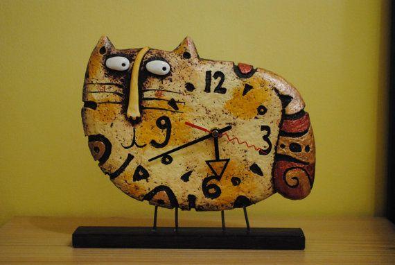 Cat clock  desk clock  designer clock  table clock  by Nickcrafts