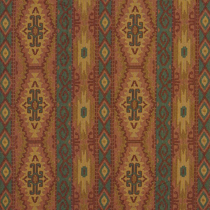 Teal and Red and Coral Multi Colored Country or Southwestern Stripe Pattern Upholstery FabricThe K1079 yard upholstery fabric by KOVI Fabrics features Contemporary, Country or Lodge or Cabin, Abstract or Geometric, Southwestern, Stripe pattern and Aqua or Teal, Burgundy or Red or Rust, Coral or Orange or Persimmon, Gold or Yellow as its colors. It is a Tapestry, Tweed type of upholstery fabric and it is made of 50% cotton, 50% polyester material. It is rated Exceeds 50,000 Double Rubs (Heavy…