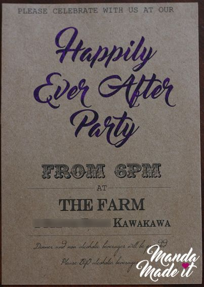 DIY Happily ever after party wedding reception invitation with purple toner reactive foil
