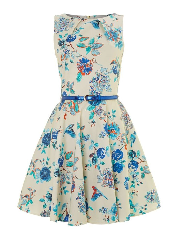 ive just found closet bird print flared belted dress multi coloured