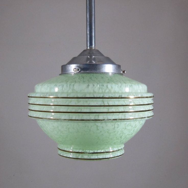 Vintage French Art Deco Ceiling Fixture, Chandelier, Green Glass Globe Shade