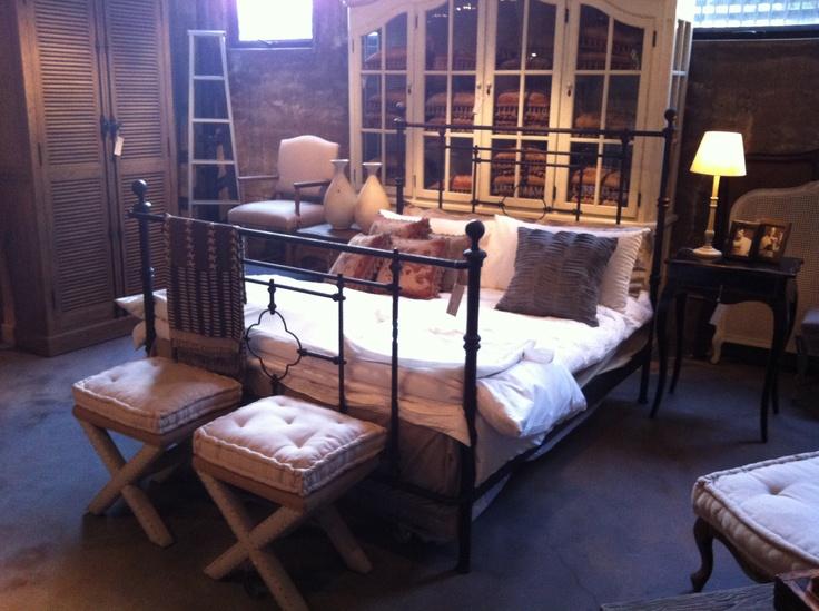 black rustic metal bed frame