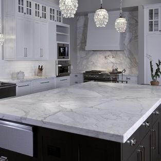 Stone Collection Granite Huge Island In Calacatta Gold Marble Contemporary Kitchen Countertops Austin Group And Wood