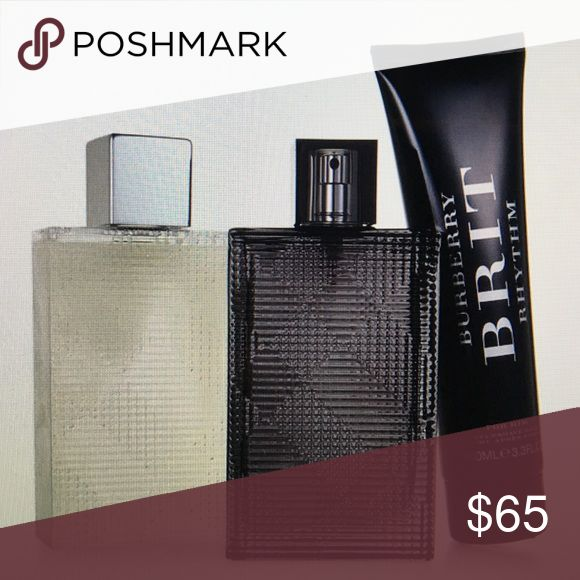 Burberry Brit for men spray, balm and gel Wonderful smelling 3 piece gift set for men! Retails $88 - $129 in stores! Includes Eau De Toilette Spray- 3.0 fl. oz. Aftershave Balm- 3.3 fl. oz. and Shower Gel- 5.0 fl. oz. Brand new in box but no plastic over it. Burberry Other