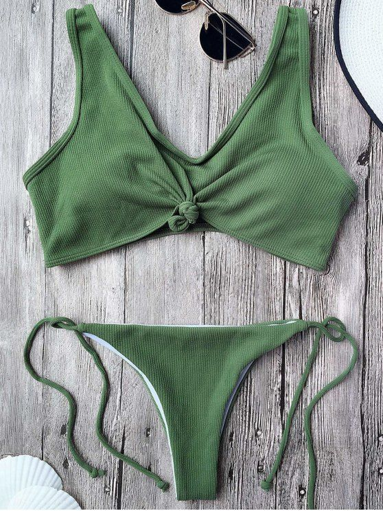 Ribbed Knotted String Bralette Bikini - ARMY GREEN M