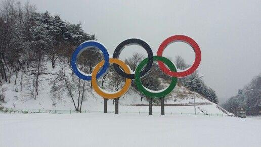 강릉시청앞 교차로에 설치된 올림픽 조형물