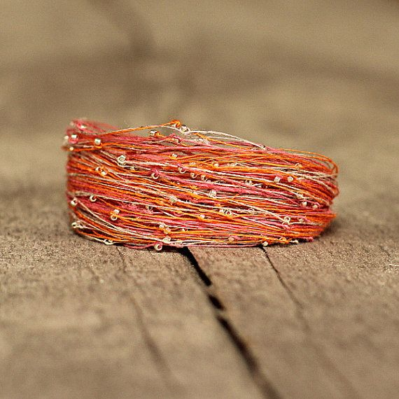 Unique Bracelet Orange Pink Bracelet Bohemian by Naryajewelry