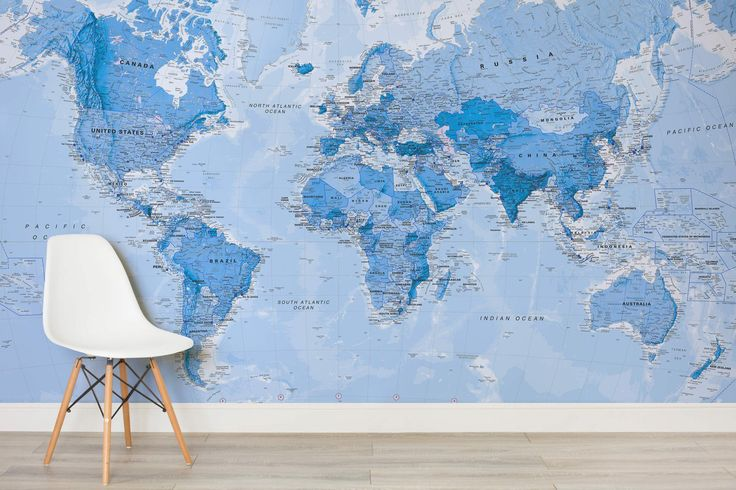 Shaded Blue Political Map Mural, custom made to suit your wall size by the UK's No.1 for wall murals. Custom design service and express delivery available.
