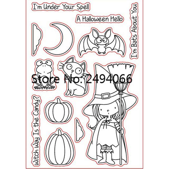 Cat Bat Abóbora Bruxa Um Halloween Olá DIY álbum de Scrapbook cartões conta AP781207 selo carimbo de borracha selo claro transparente