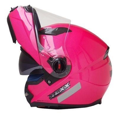 Capacete Escamoteável c/ Óculos Interno Texx Mercúrio DV Smart Feminino Rosa - Masada Moto