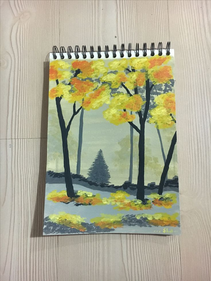 forest in autumn acrylic
