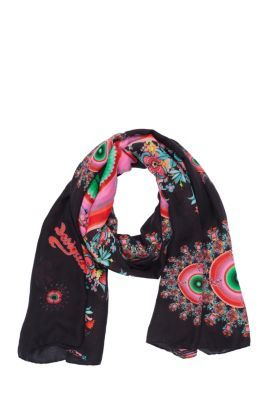 Circodelia rectangular foulard from our sexiest range. Black with baroque spheres in pinks and greens. This foulard measures 195x110cm