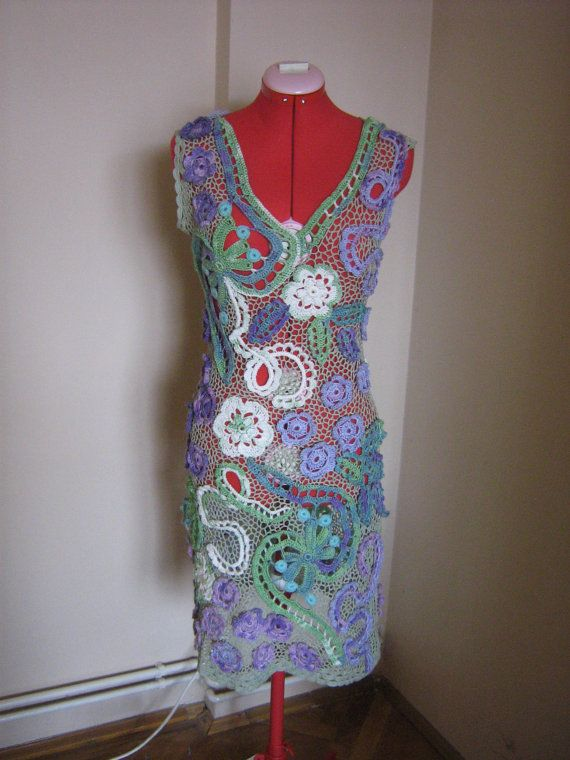 Crochet dress made with cotton and acrylic crochet thread crochet thread with Irish crochet motifs. Each crochet item is made separately and all of them are afterwards sewed together and connected with crochet net. It is a stretchable dress It is an elegant summer dress that can be worn at parties, wedding, dinner parties or many other occasions.  Size S- M It is a stretchable dress. Maximum bust 90 cm - 35,43 inch Maximum waist 84 cm - 33,07 inch Max hips102 cm - 40,15 inch  Length of the…