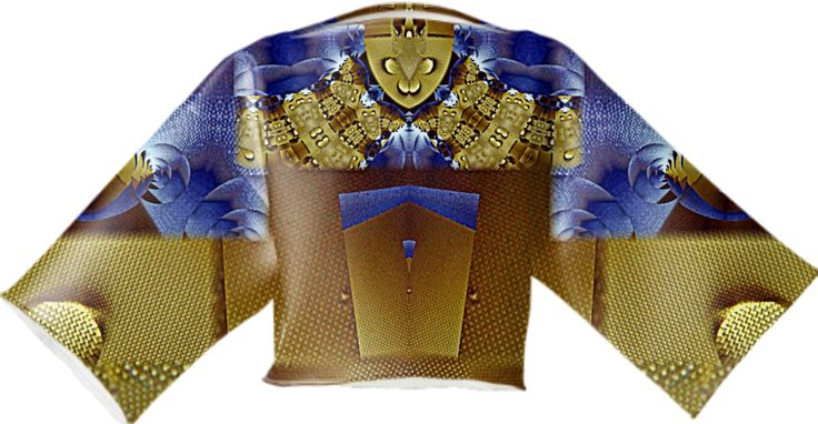 Top in gold and blue fractal pattern from Print All Over Me
