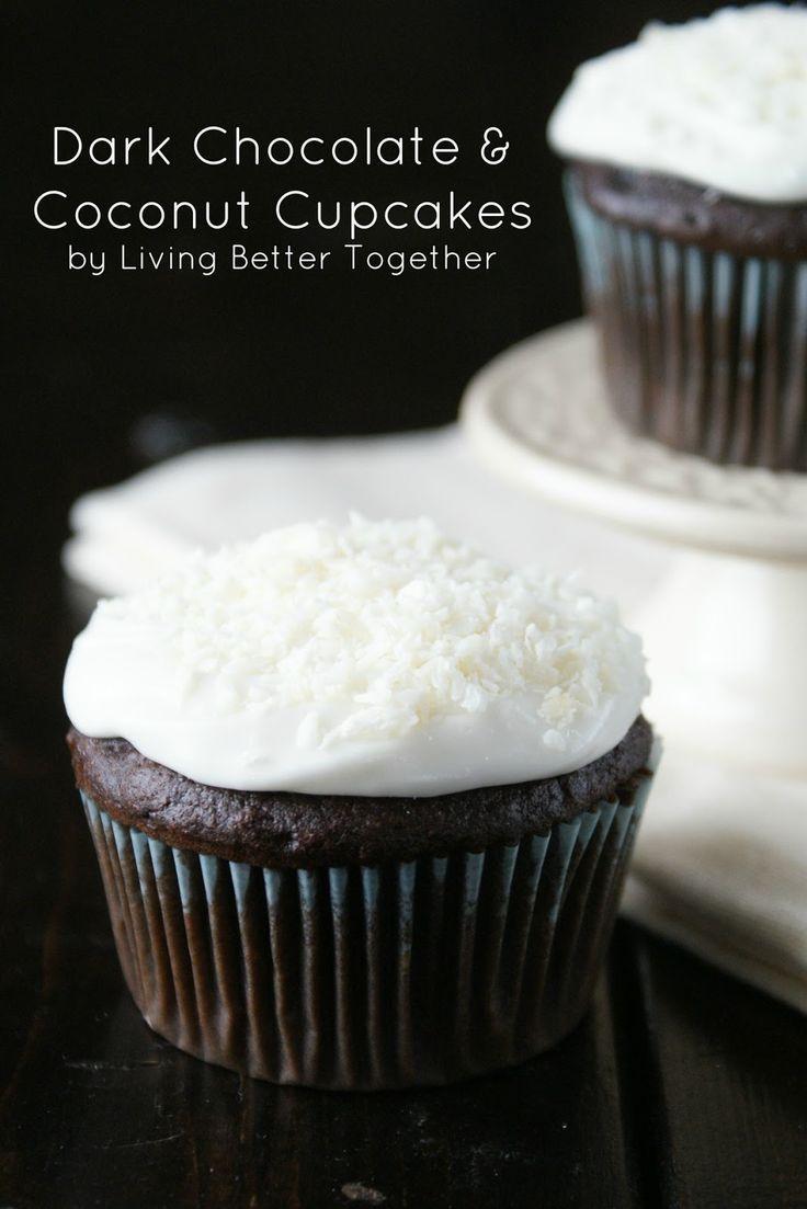 Dark Chocolate & Coconut Cupcakes www.livingbettertogether.com