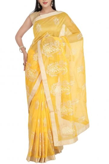 Yellow & Crochia Embroidery Cotton Silk Kota Saree