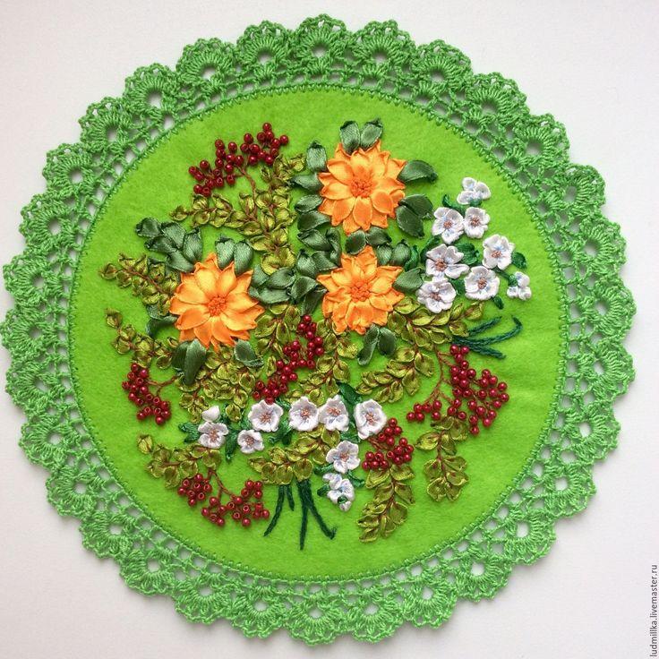 """Купить Вышивка лентами """"Первоцветы"""" - Вышивка лентами, вышивка цветами, подарок девушке, подарок женщине"""