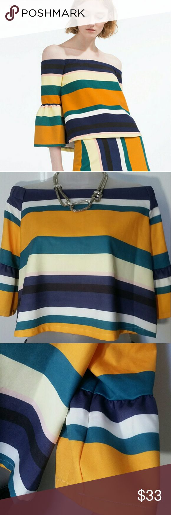 Off shoulder tops NWOT Yellow Gold, Navy Blue, Cream, Green & Multicoloured All Over Stripe Print Off The Shoulder Bardot Neckline Three Quarter Sleeve Frill Cuff . Size large but fit meduim. Good conditions . Color exactly in the pictures Tops