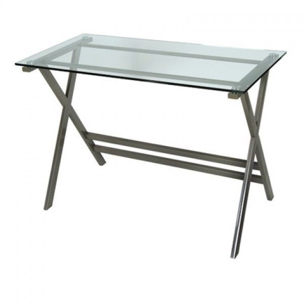 Graphite Clear Glass Home Office Desk Wide Vat A Smart Looking With Finish Frame That Would Not Look Out Of Place In Any