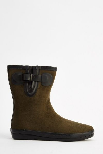 Suedette Welly Boots - 4 Colours - Just £5