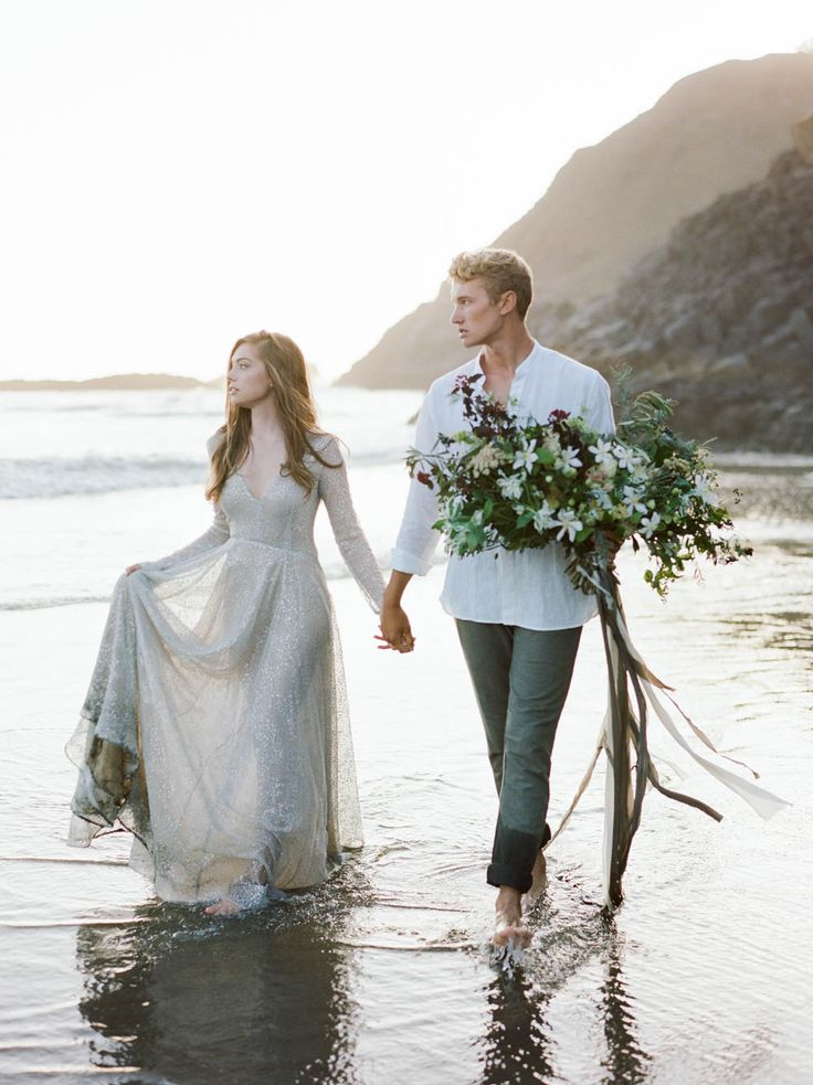 Adore this sparkling Claire La Faye gown   http://adornmagazine.com/washed-ashore-coastal-wedding-inspiration/