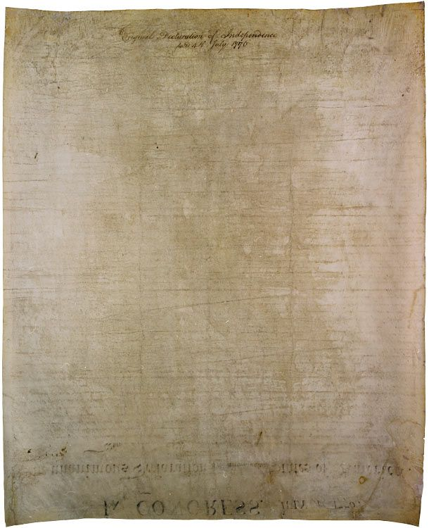 """The back of the Declaration of Independence. """"Written on the back: """"Original Declaration of Independence dated 4th July 1776.""""  No one knows who exactly wrote this or when, but during the Revolutionary War years the parchment was frequently rolled up for transport. It's thought that the text was added as a label."""""""