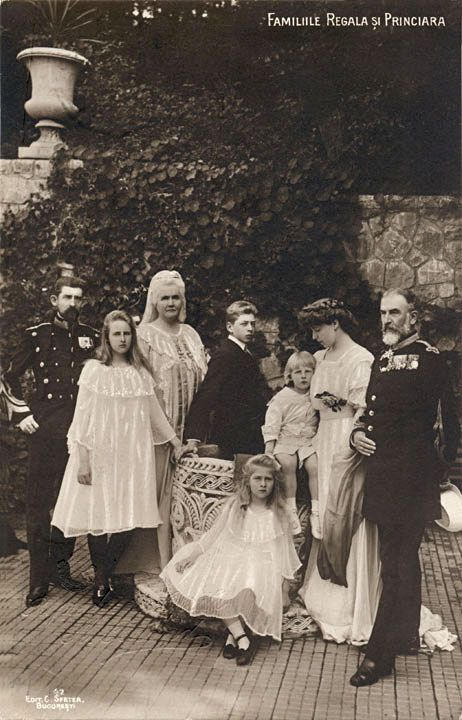 Another family portrait.  Crown Prince Ferdinand, Princess Elisabeth, Queen Elisabeth, Prince Carol, Prince Nicholas, Crown Princess Marie, Princess Ileana and King Carl I.
