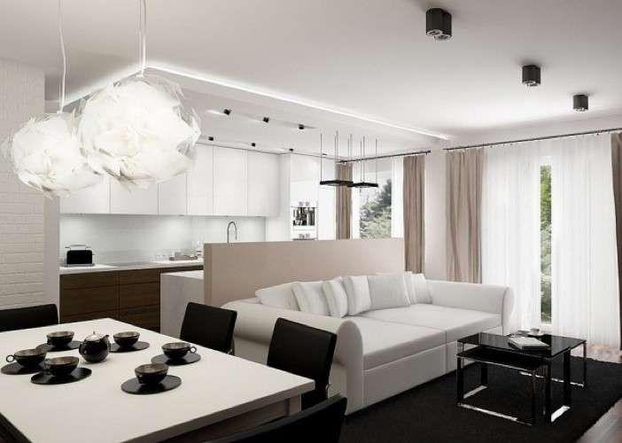 Soggiorno piccolo con angolo cottura - Raffinata zona living