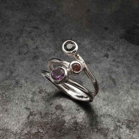 Sterling Silver Gemstone Ring Amethyst Tourmaline by SunSanJewelry
