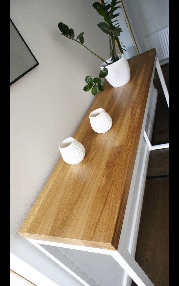 Konsola, stolik, Industrial Console White Oak - projektdrewno - Komody