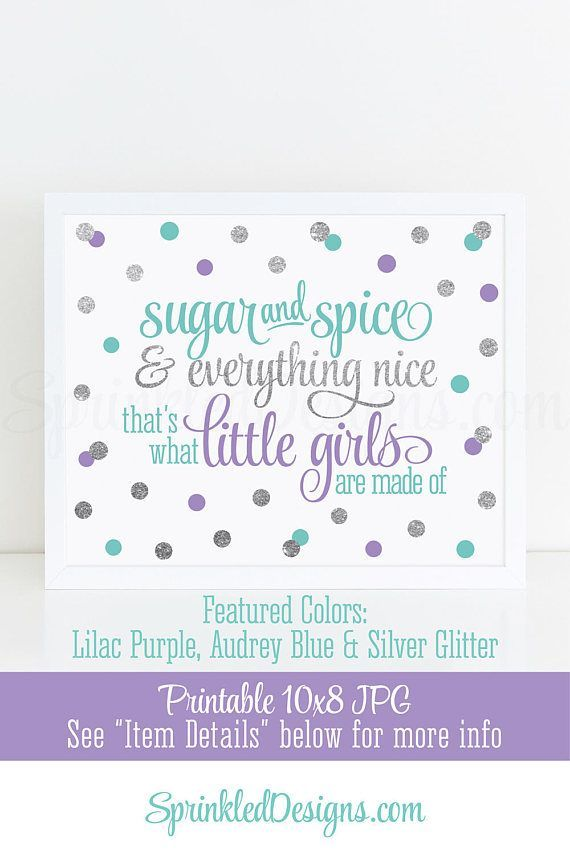 Sugar and Spice & Everything Nice Printable - Audrey Blue Lilac Purple Silver Glitter Baby Girl Nursery Wall Art, Birthday Decor 10x8 Sign - SprinkledDesigns.com